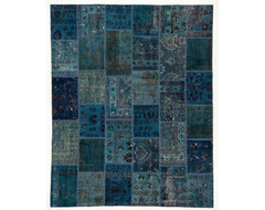 Handmade Patchwork Runner Rug Sky Blue Without Boarders 8x10 traditional-rugs