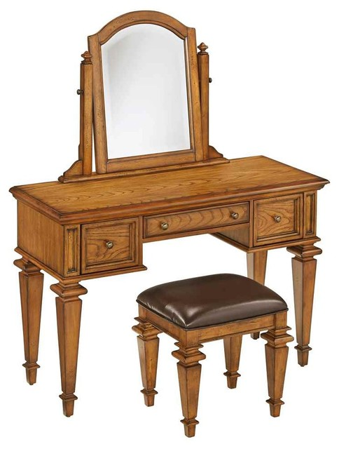 Bedroom Vanity Set In Distress Oak Finish Traditional Bedroom Makeu