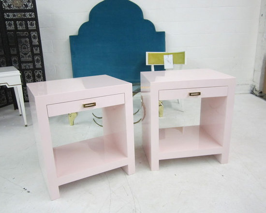 Custom Pink Lacquered Nightstands -