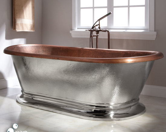 Bathtubs - This extra wide double ended air bath has a hammered copper interior and a hammered nickel exterior, and it is equipped with airbath technology. The spacious interior features twelve jets that push air bubbles through the water, creating a relaxing spa environment in your bathroom.--Signature Hardware