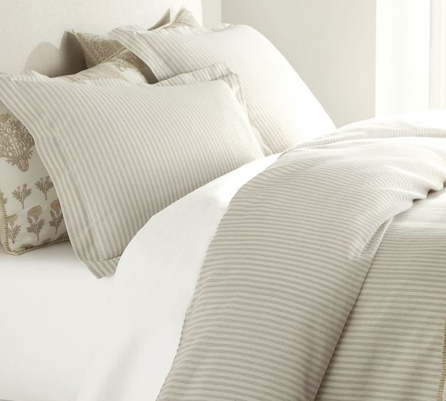 Vintage Ticking Stripe Duvet Cover & Sham, Neutral traditional bedding