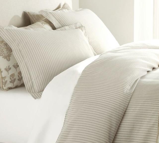 Vintage Ticking Stripe Duvet Cover & Sham, Neutral traditional-bedding