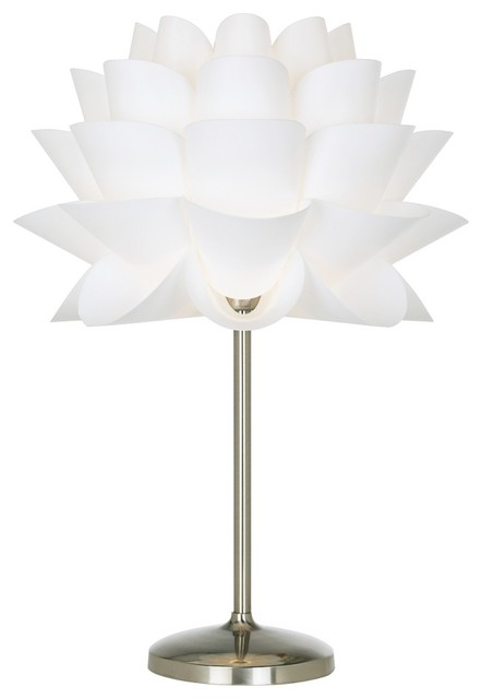 Possini Euro Design White Flower Acrylic Shade Table Lamp Contemporary Ta