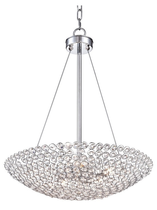 "Possini Euro Design - Possini Euro Geneva 20"" Wide Contemporary Crystal Chandelier - Easily add modern elegance to your home with this posh contemporary chandelier. Featuring shining crystal circles and a sleek chrome finish for glamorous style. From the Geneva Collection by Possini Euro Design.  Geneva contemporary chandelier.  By Possini Euro Design.  Metal frame with crystal circles.  Chrome finish.  Five maximum 60 watt or equivalent candelabra base bulbs (not included).  Includes 6 feet of chain 10 feet of wire.  24"" high.  20"" wide.  Canopy is 4 5/8"" wide.  Hang weight is 7.5 lbs."