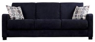 Handy Living Tahoe Black Microfiber Convertible Sofa with Geometric Circle Pillo modern-sofas