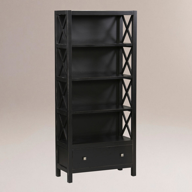 Easton Tall Bookcase, Antique Black - Traditional - Storage Cabinets - by Cost Plus World Market
