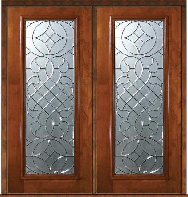 Prehung Exterior Double Door 80 Alder Savoy Full Lite Glass Mediterranean Front Doors