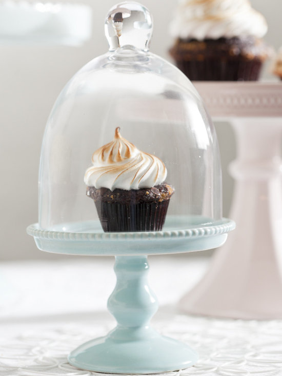 Small Blue Porcelain Cupcake Stand with Glass Dome -