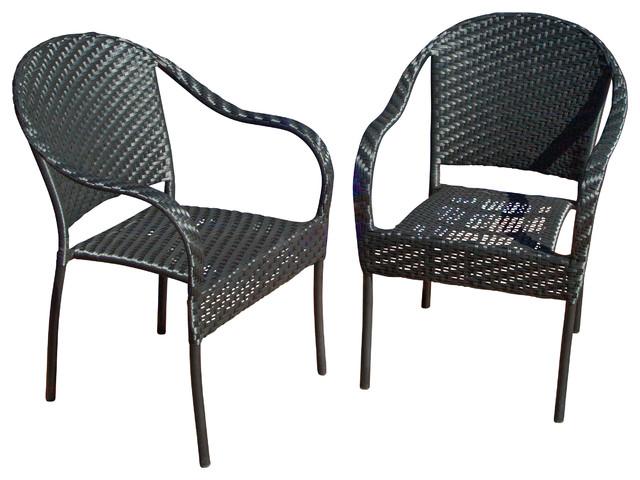 livingston outdoor black wicker chair set of 2