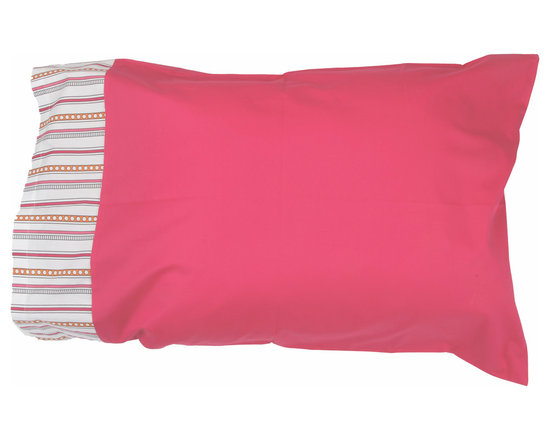 "Sophia Lolita - Standard Pillowcase - Standard pillowcase come in bright solid poppin pink and trim in ""Sophia Lines"" cotton fabric."