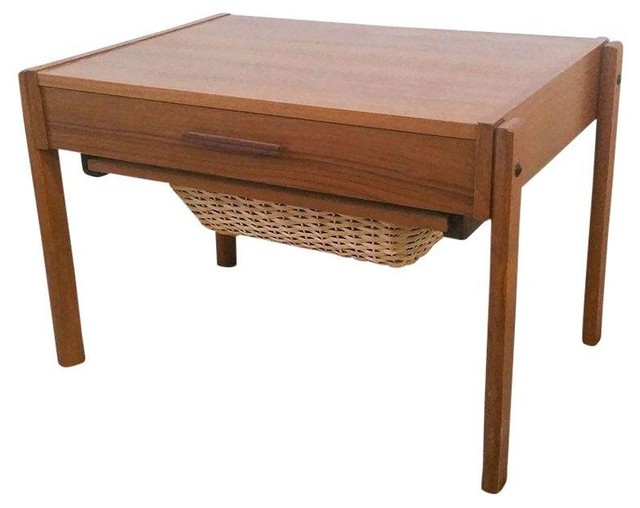 Pre-owned Danish Modern Teak Sewing Box Side Table - Midcentury - Side Tables And End Tables ...