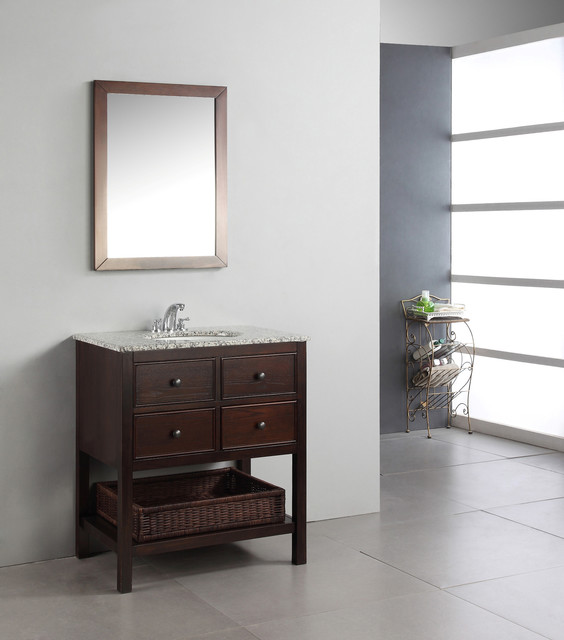 New Haven Walnut Brown 30 Inch Bath Vanity With 2 Drawers And Dappled Grey Gr