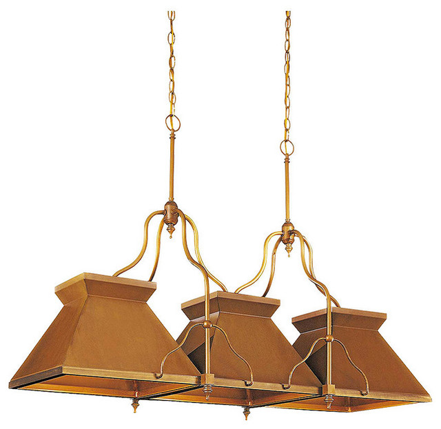 Edwardian kitchen island pendant with antique brass patina for Brass kitchen light fixtures