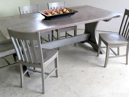Driftwood Farm Table With Trestle Base Farmhouse