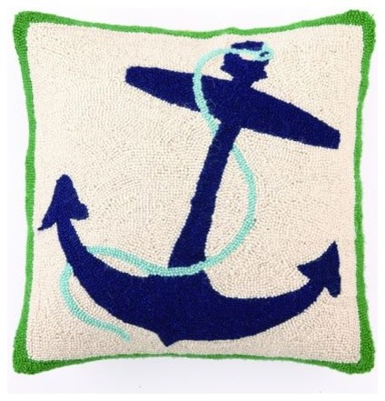 Blue Anchor Hook Pillow modern pillows