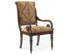 Longstaffe Dining Arm Chair - Damask Gold modern-dining-chairs