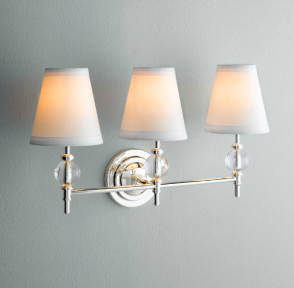 Restoration hardware bathroom sconce lighting for Traditional bathroom vanity lights