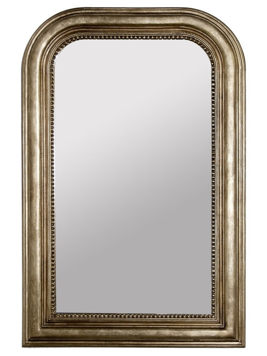 Worlds Away Waverly Silver Leaf Mirror - Champagne Silver Leaf Handcarved Curved Top Rectangular Mirror. Nonantiqued Mirror Insert.