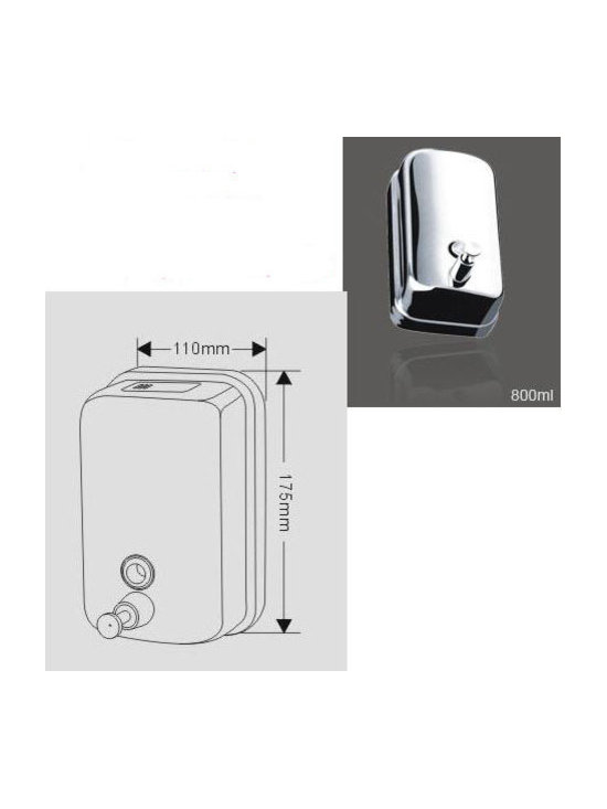 800ML Wall Mounted Soap Dispenser - Features: