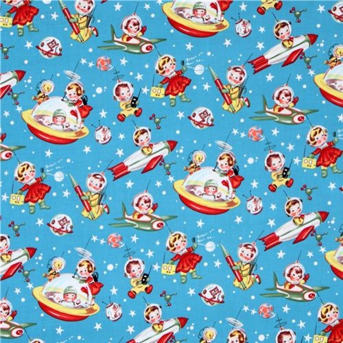 Michael miller fabric retro rocket rascals astronauts for Nursery fabric