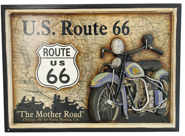 U s route 66 the mother road motorcycle wall plaque for Decoration murale route 66