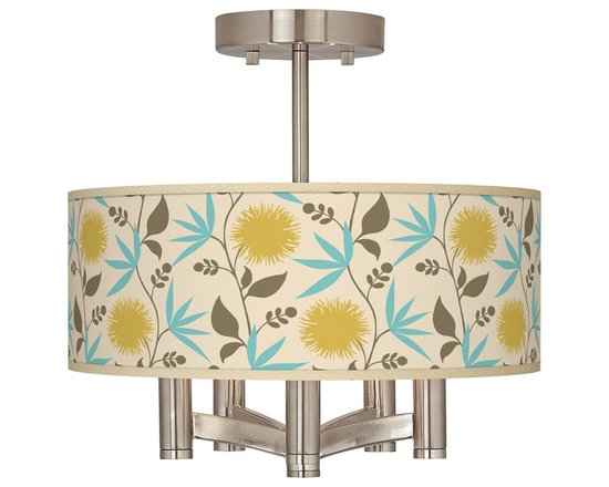 """Seedling - Country - Cottage Seedling Dahlia Ava 5-Light Nickel Ceiling Light - Brushed nickel finish. Dahlia pattern printed shade. Semi-flushmount design. Five 60 watt candelabra bulbs (not included). 14"""" wide. 13 1/2"""" high. Shade only is 14"""" wide 5"""" high. Canopy is 5"""" wide.   Brushed nickel finish.  Dahlia pattern printed shade.  Semi-flushmount design.  Five 60 watt candelabra bulbs (not included).  14"""" wide.   13 1/2"""" high.   Shade only is 14"""" wide 5"""" high.   Canopy is 5"""" wide."""