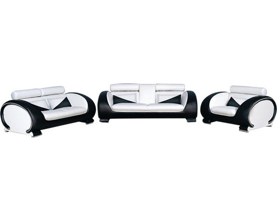 Scene Furniture - 73 Modern Sofa Set - This modern leather sofa set is hand produced with Italian leather and is designed with a very unique curved look. The sofa's center drops down to become a double cup holder and there are 16 colors to mix and match with.