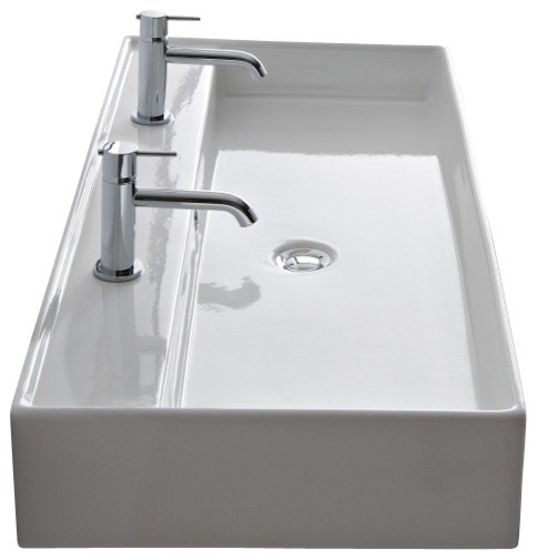 White Rectangular Vessel Sink : Rectangular White Ceramic Wall Mounted or Vessel Sink, No Hole ...