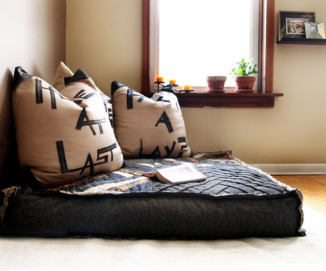 Custom Organic Buckwheat Oversized Floor Cushion - Eclectic - Living Room - chicago - by SOLO ...