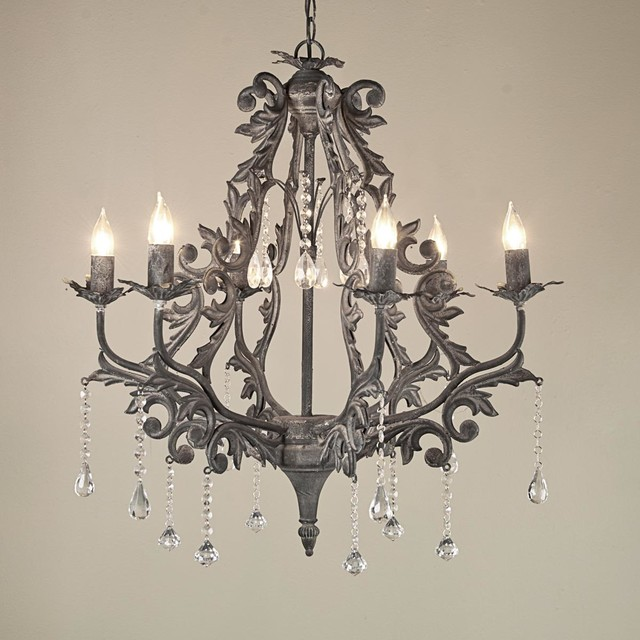 Vintage Gray Damask Silhouette Chandelier - Chandeliers - by Shades of Light