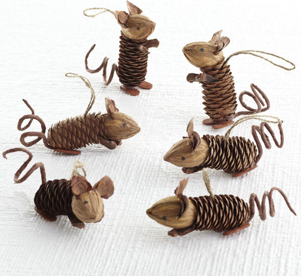 Winter Pinecone Friends, Mice - eclectic - holiday decorations