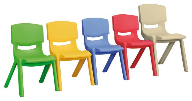 "Ecr4Kids Preschool Playroom 12"" Resin Chair Sand 6 Pack contemporary-kids-chairs"