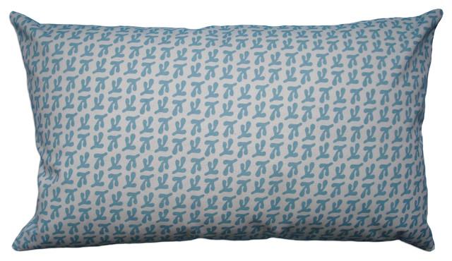 Hand Printed Canvas Pillow - Birds Feet, Coastal Blue, 12 x 20 contemporary-decorative-pillows