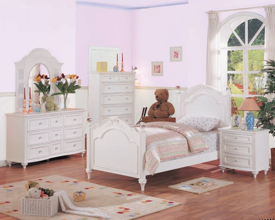 Crystal Youth Bedroom - Your little girl is sure to love the jeweled hardware and carved ribbon detail of the Crystal collection. It is finished in a bright white with framed drawer fronts and turned feet that add personality to the collection. The low post bed has a high headboard built for a princess. The desk hutch features a corkboard back and ribbon apron detailing. Give your little girl the room she's always dreamed of with the Crystal collection.  Photo: Jerome's Furniture