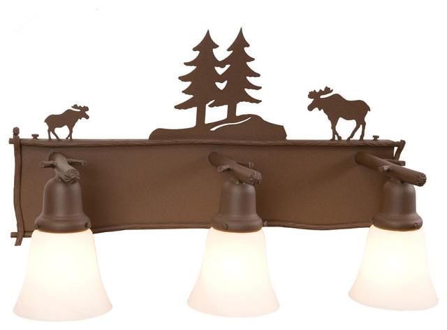 Glacier vanity moose 3 light rustic bathroom for Houzz rustic lighting