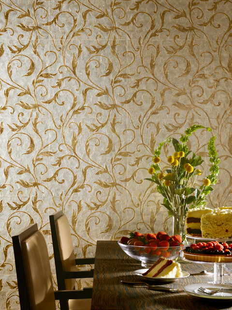 Mother Of Pearl Marquetry Traditional Wallpaper