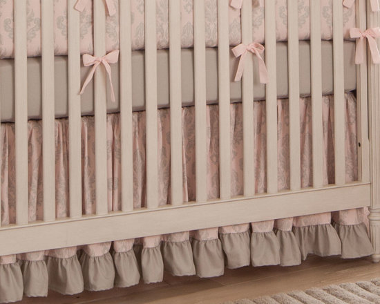 Paris Script Crib Skirt - Silver French Damask crib skirt, with 4-inch ruffled trim in Silver Gray Silk.
