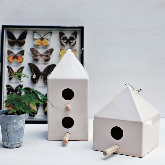 Ceramic Birdhouses | west elm modern birdhouses