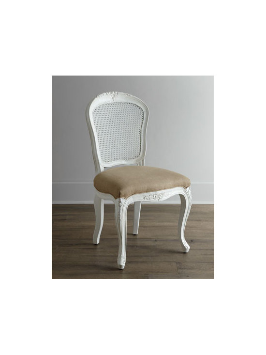 """Shabby Chic - Shabby Chic """"LaDonna"""" Dining Chair - We can't decide what we love most about this chair—its hand-carved frame, the handwoven cane inset in the back, the textured upholstery, or the hand-rubbed finish. Any way you look at it, it is a stunning addition to any setting. Solid mango wood...."""