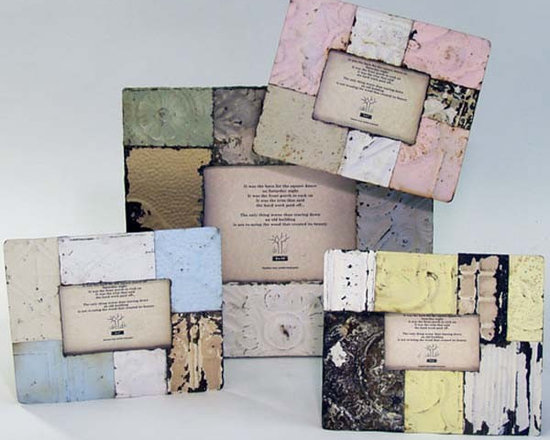 Pastel Quilted Tin Frames - The tin used in the construction of these frames are antique. Because of this, patterns and pieces will vary. This line of beautifully unique products are handmade from reclaimed building materials right here in the United States. Antique ceiling tin, molding from houses and beaded board is used to create these one-of-a-kind pieces. We try to keep our products as authentic as possible yet to have certain colors available to you, there are times when our antique materials are enhanced with color. Shades vary, level of distress varies, tin patterns vary.