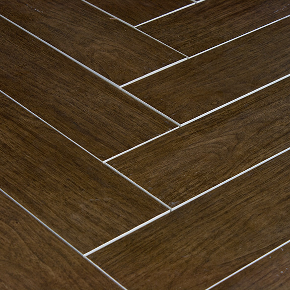 Prestige Walnut Wood Plank Porcelain Modern Wall And