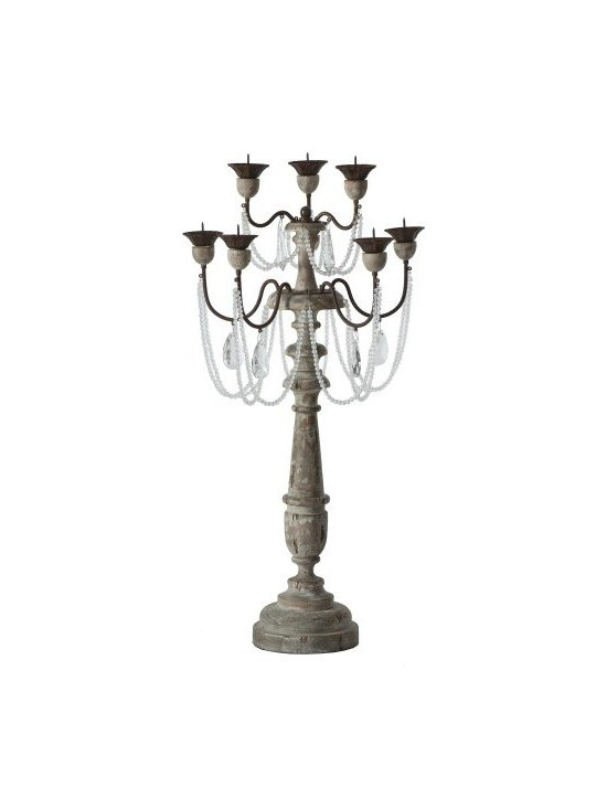 Aidan Gray - Chateau La Grey Candlesticks Set of 2 - Bring a glamorous, amorous touch to your favorite traditional setting with these French-inspired candlesticks (sold as a pair). Crystal strands and drops against carved, aged wood create an elegant, oh-so-romantic effect.