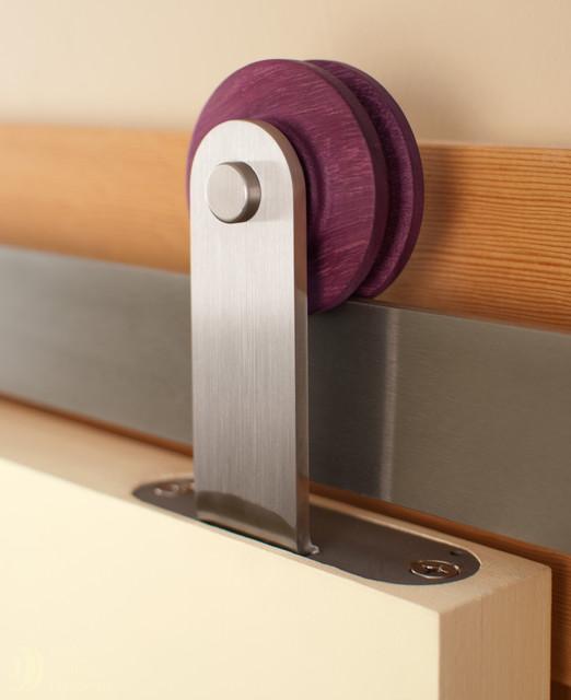 Aero barn door hardware in stainless steel contemporary