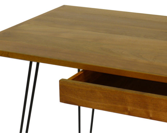 Gingko Home Furnishings - Metro Desk, Walnut Natural - Steel hairpin Legs give the Metro Desk and light, Mid-Century look. Center pencil drawer can be ordered as keyboard slide.