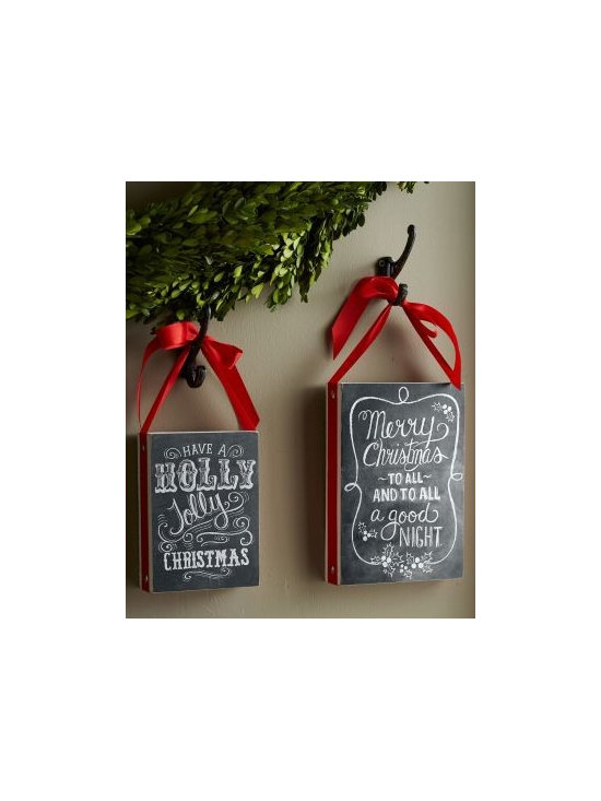 "Garnet Hill - Chalkboard Sign - Celebrate the season with the current home trend: chalkboard-style signage. The festive painted-on messages and chalkboardesque finish give each sign a nostalgic, vintage vibe that plays nicely with other holiday decorations. This wooden-box sign is adorned with red ribbon trim that doubles as a hanger. Imported.   Small (Holly Jolly): 7 1/2"" H x 5 1/2"" W x 1 3/4"" D Large (Merry Christmas): 10"" H x 7"" W x 1 3/4"" D"