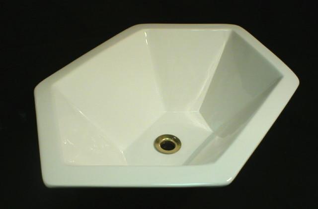 Custom Hexagon Sink In White Modern Bathroom Sinks