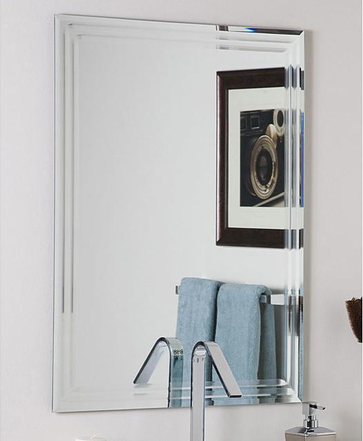 Frameless Tri Bevel Wall Mirror Contemporary Bathroom Mirrors By