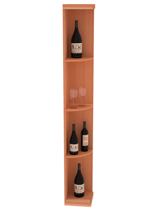 Quarter Round Wine Display in Redwood - Highly decorative Quarter Round Wine Displays are the perfect solution to racking around corners. Designed with a priority on functionality, these wine storage units are excellent as end caps to walls of wine racking or as standalone shelving.