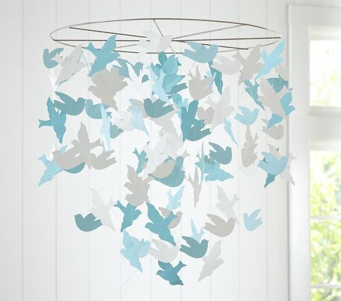 Bird paper mobile modern baby mobiles by pottery for Bird mobiles for nursery