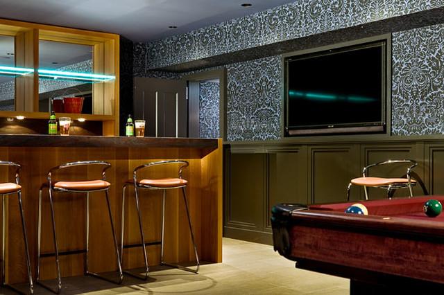 bar area transitional home bar